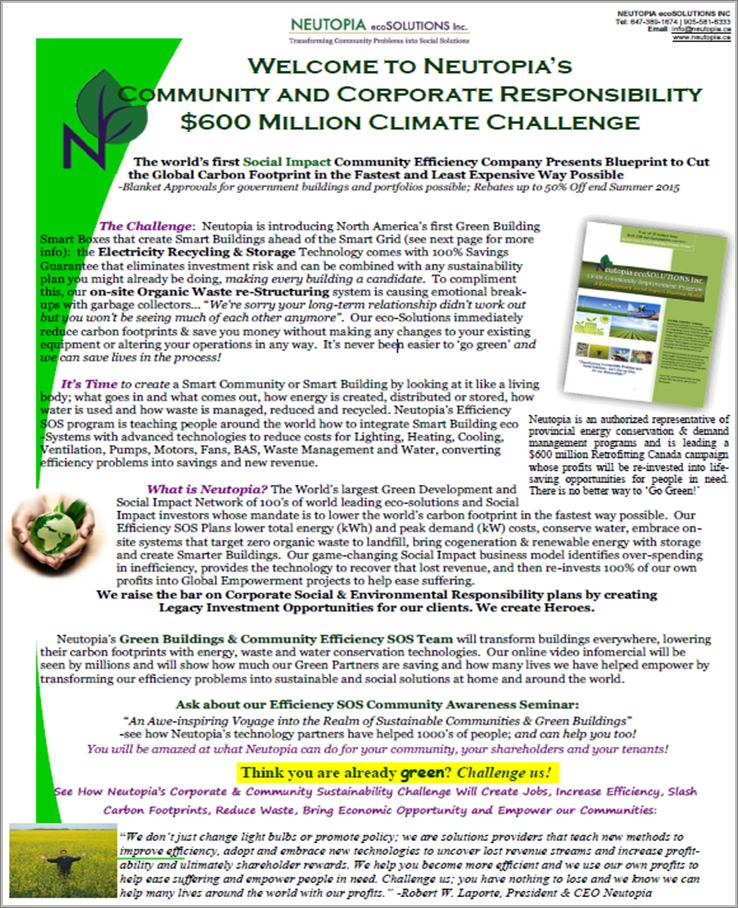Neutopia's $600 Million Climate Challenge